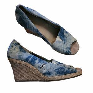 Toms Blue Tie Dye Denim Platform Wedge Sandals